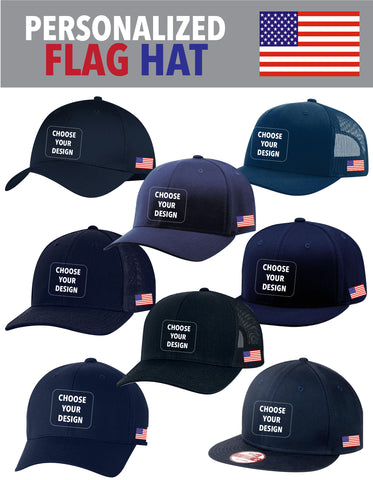 SLO Fire Department - All Hat Styles with Flag and PERSONALIZATION