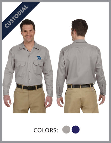 SLO Public Works - (Custodial) Mens Dickies Long Sleeve Work Shirt-*Please read notes in red