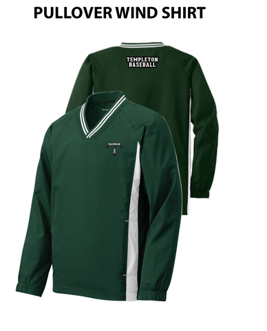 Templeton Youth Baseball - V-Neck Pullover Wind Shirt