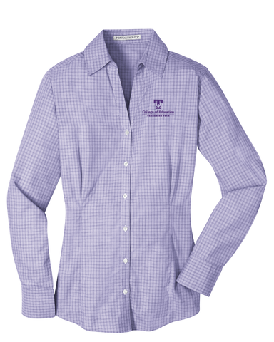 TTU - CoE Ladies Plaid Pattern Easy Care Long Sleeve