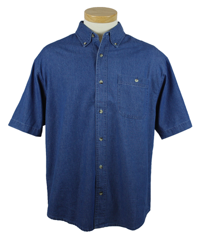 CP NRES6 - Men's Denim Short Sleeve Polo with Pocket
