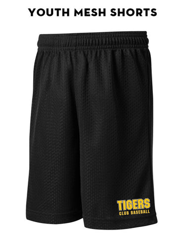 Tigers Club Baseball - Youth Mesh Shorts