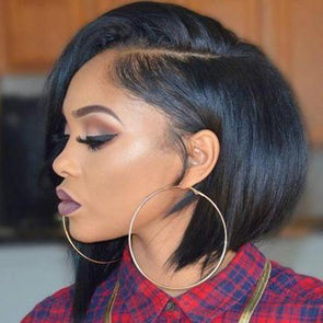 Short Silky Straight Virgin Hair Lace Front Bob Wigs(2 COLOR)—140%(EXTRA THICK AS IN VIDEO)