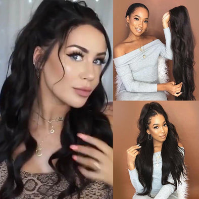 (Last Day ONLY  $19.99) KINGKYLIE black wig—140%(Extra Thick As In Video)