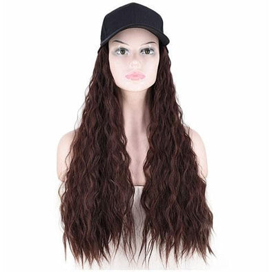 Dark brown big roll hat wig