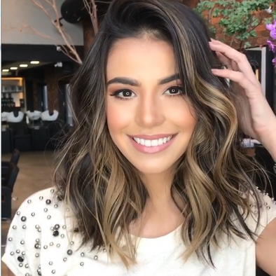 Brown Gold shoulder short hair— 140%(EXTRA THICK AS IN VIDEO)