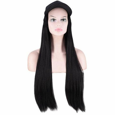 Black straight cap wig