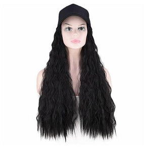 Black big roll hat wig