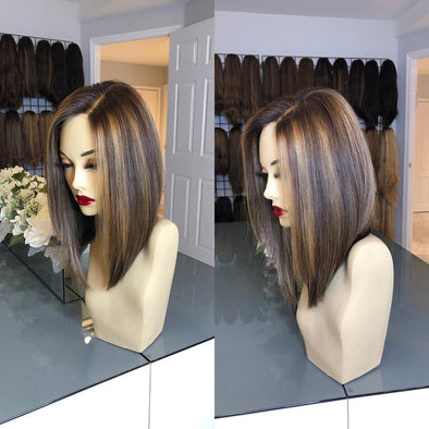 classy brown short straight wig