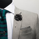 Black Dotted Chiffon Lapel Flower