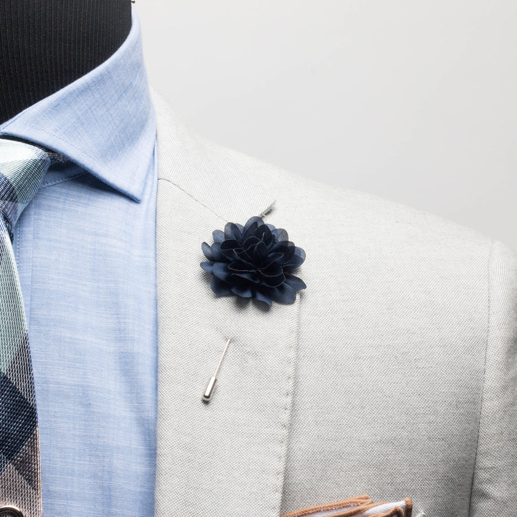 Navy Chiffon Lapel Flower
