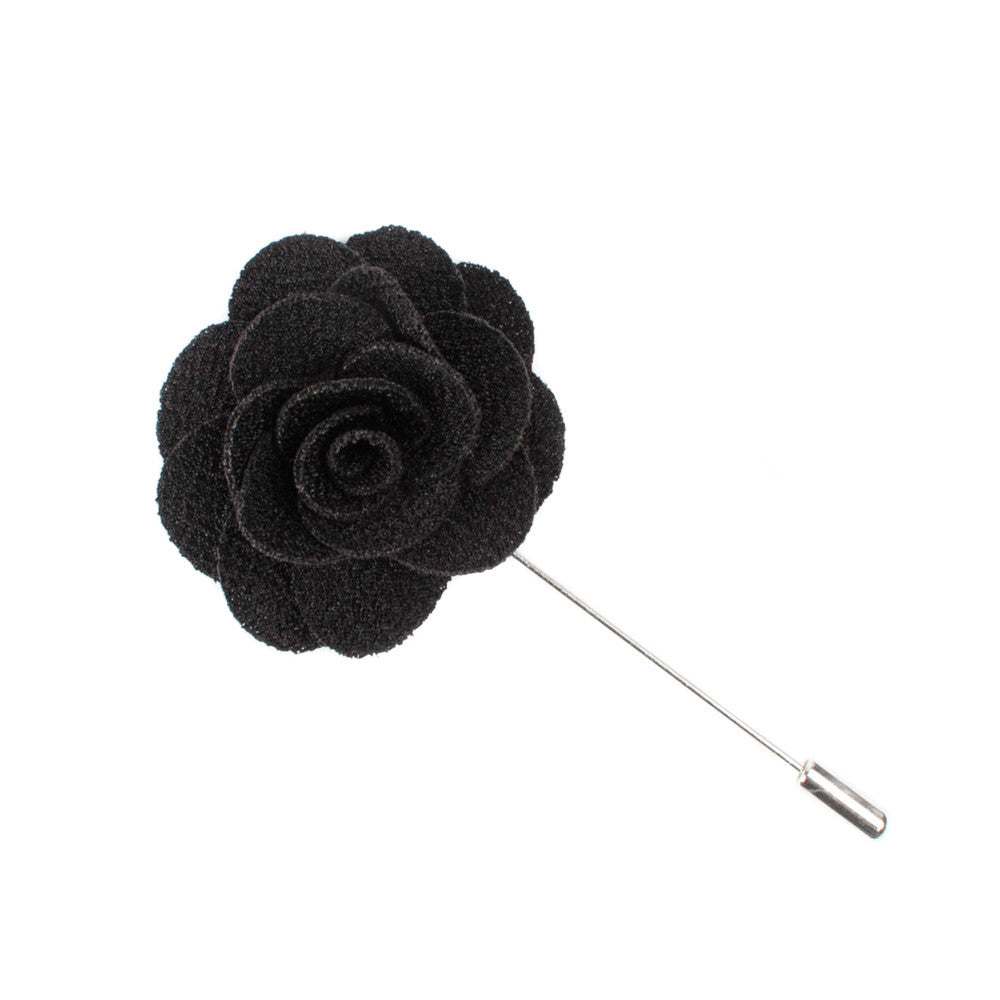 Black Microfiber Lapel Flower