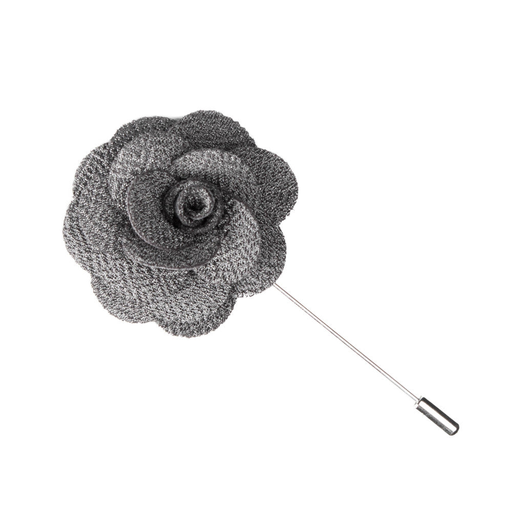 Gray Microfiber Lapel Flower