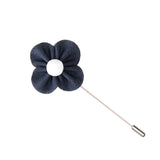 Navy & White Lapel Flower