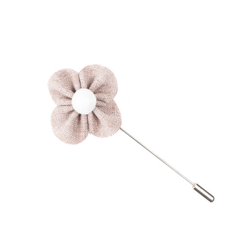 Taupe & White Lapel Flower