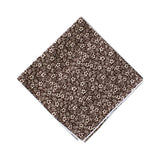 Brown & White Floral Pocket Square