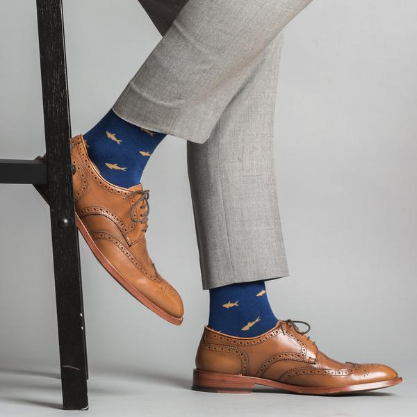 Navy & Tan Shark Socks
