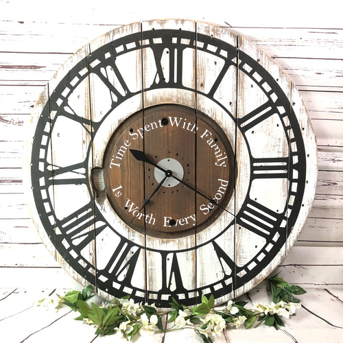 CUSTOM WOODEN SPOOL CLOCK