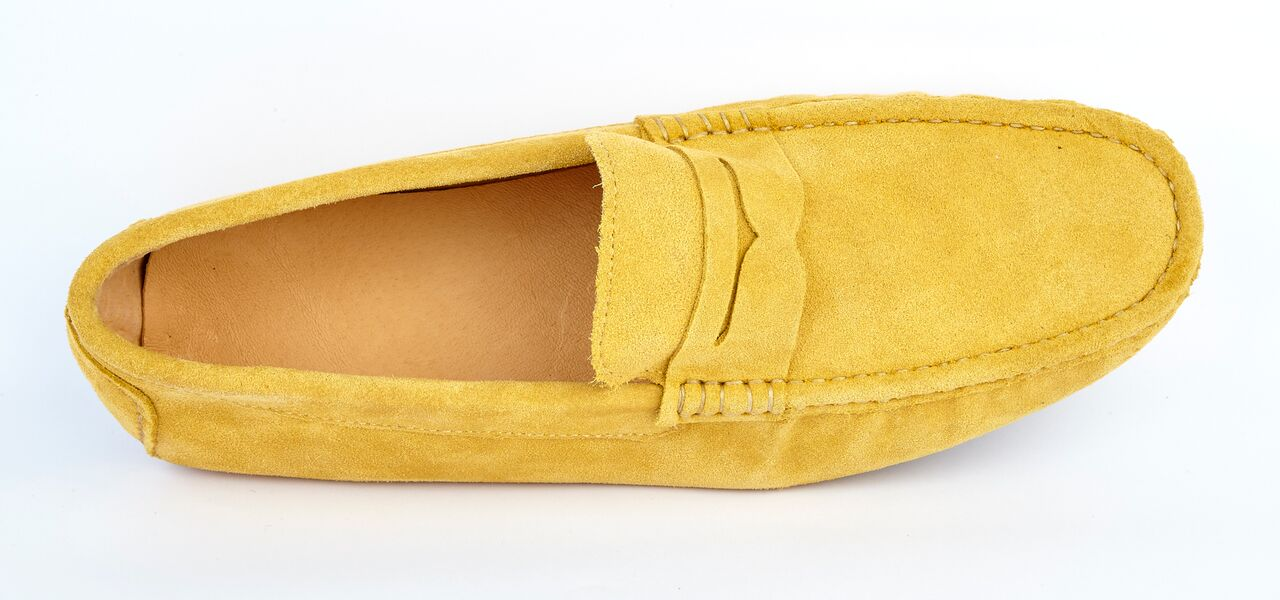 Mustard Suede Driving Loafers