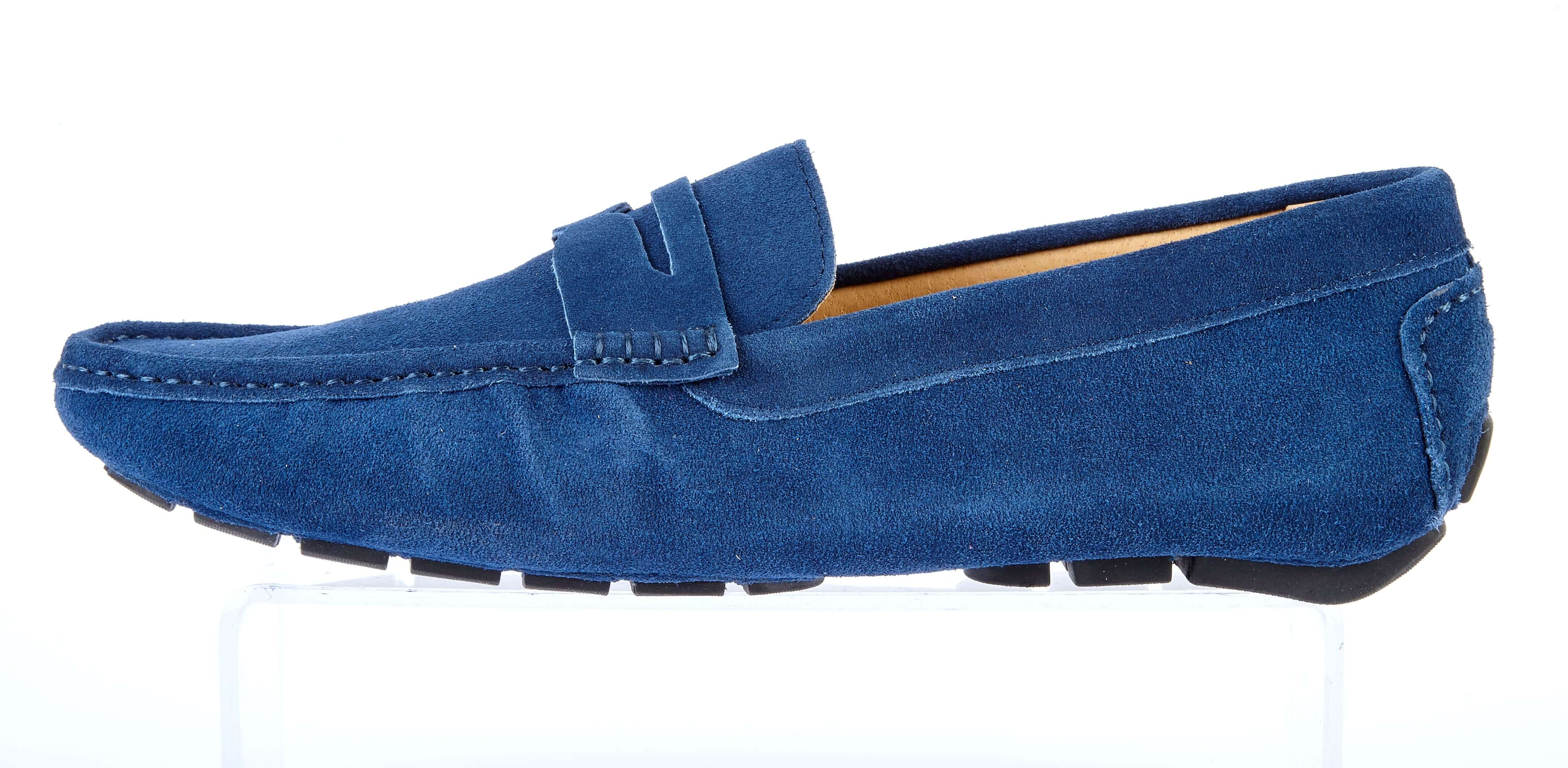Navy Suede Driving Loafers