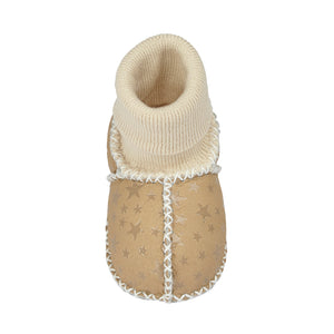 BABY SHEEPSKIN SLIPPER SOCKS - BEIGE STAR