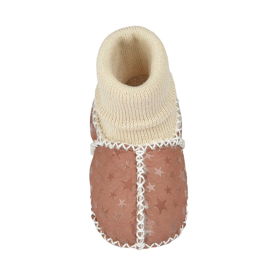 BABY SHEEPSKIN SLIPPER SOCKS - EARTH STAR