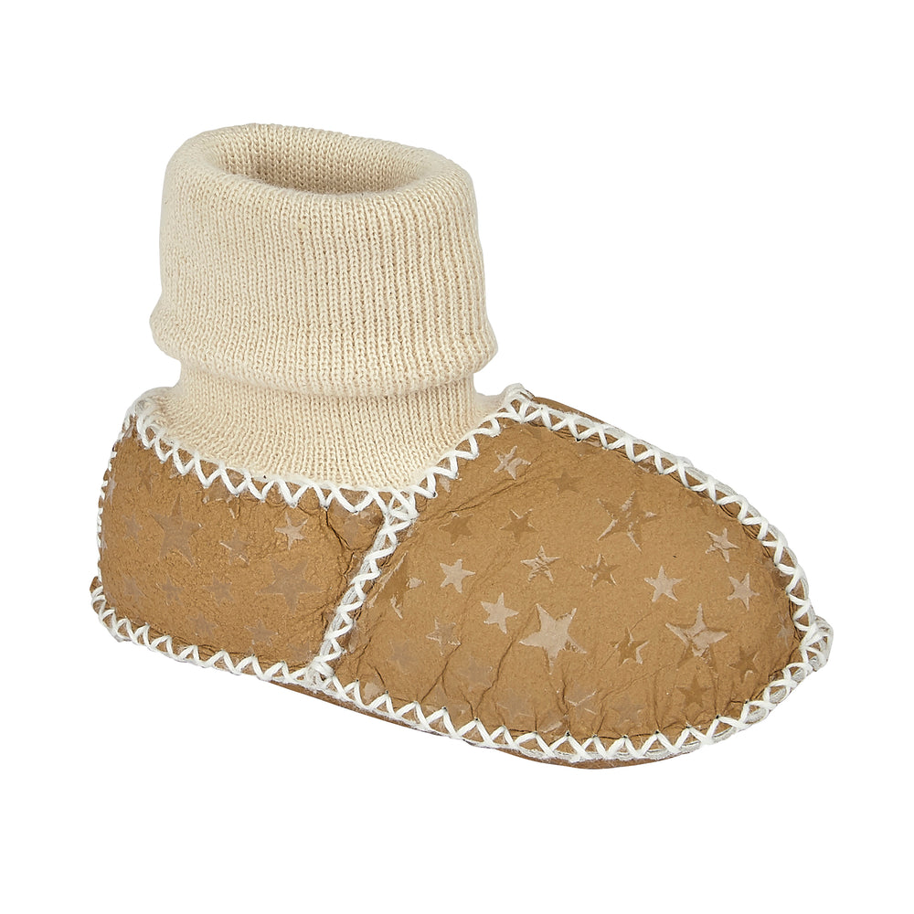 BABY SHEEPSKIN SLIPPER SOCKS - KHAKI STAR