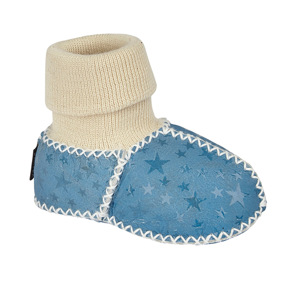 BABY SHEEPSKIN SLIPPER SOCKS - NAVY STAR