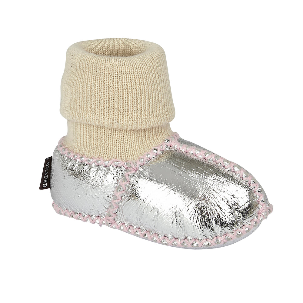 BABY SHEEPSKIN SLIPPER SOCKS - SILVER