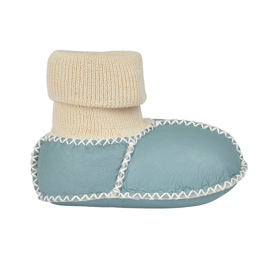 BABY SHEEPSKIN SLIPPER SOCKS - SKY