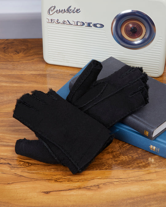 Black Mens Fingerless Gloves