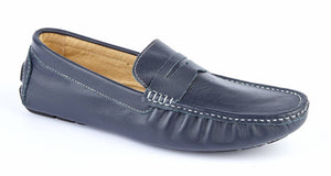 NAVY LEATHER DRIVING SHOES