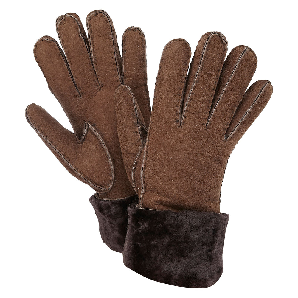 SHEEPSKIN CUFF GLOVES BROWN