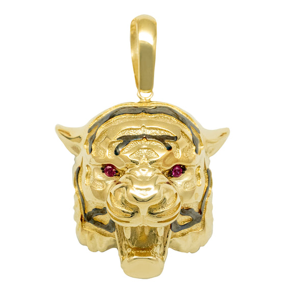 "2"" Tiger Head Ruby Eyes Pendant Real Solid 10K Yellow Gold - bayamjewelry"