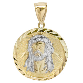 "1 1/2"" Jesus Face Diamond Cut Oval Medallion Pendant Real 10K Yellow White Gold - bayamjewelry"
