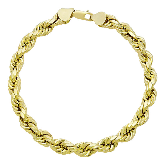 Men's Rope Bracelet Real 10K Yellow Gold - Hollow - bayamjewelry