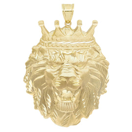 Men's Diamond Cut Lion Head Charm Pendant Real Solid 10K Yellow Gold ALL SIZES - bayamjewelry