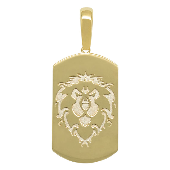 "1 3/4"" Dog Tag Lion Head Pendant Real Solid 10K Yellow Gold - bayamjewelry"