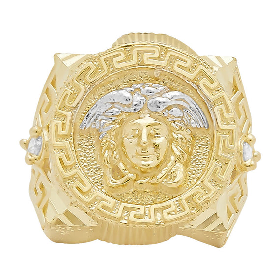 Men's Medusa Head Greek Style Two-Tone CZ Ring Real Solid 10K Yellow White Gold - bayamjewelry