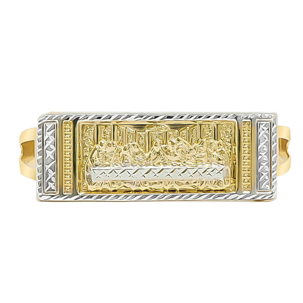 Men's Rectangular Last Supper Diamond Cut Two Finger Ring Real 10K Yellow Gold - bayamjewelry