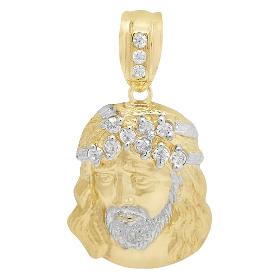 "1 3/8"" Jesus Head CZ Cubic Zircon Pendant Real Solid 10K Yellow Gold - bayamjewelry"
