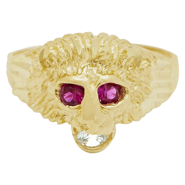 Men's Unisex Lion Head Ring Ruby Eyes & CZ Real Solid 10K Yellow Gold Size 11 - bayamjewelry