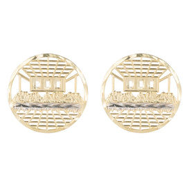 Round Diamond Cut the Last Supper Stud Earrings Real Solid 10k Yellow White Gold - bayamjewelry