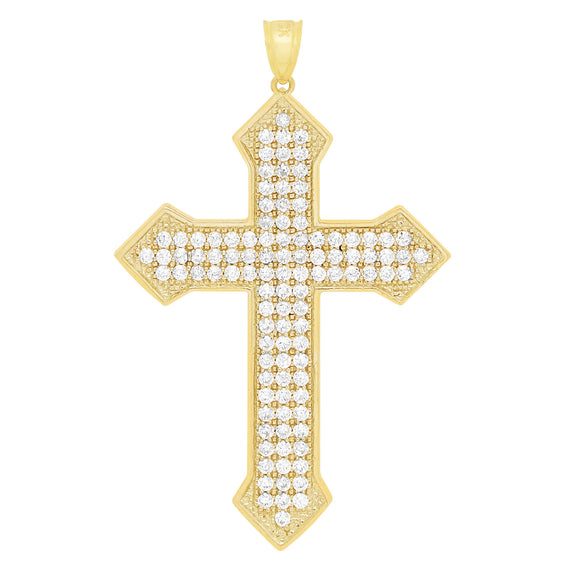 "1 3/4"" Cross CZ Cubic Zircon Pendant Real Solid 10K Yellow Gold - bayamjewelry"