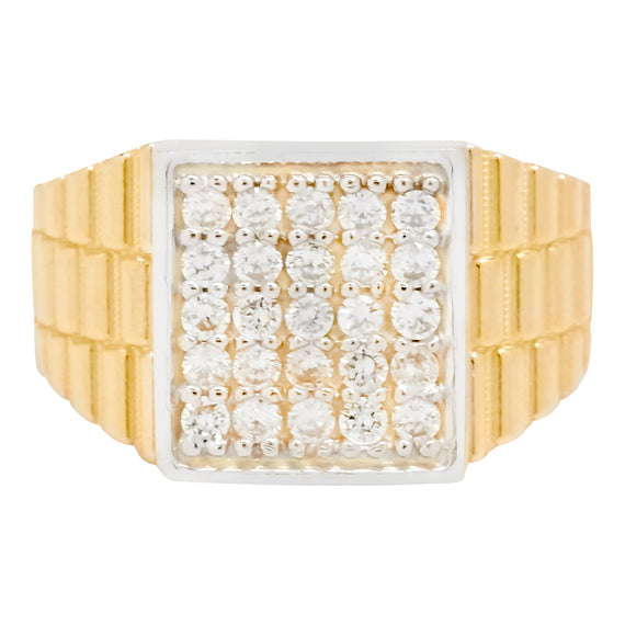 Men's Unisex Railroad Square CZ Pinky Ring Real Solid 10K Yellow Gold - bayamjewelry