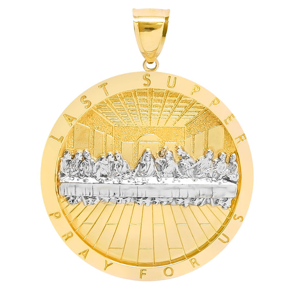 Mens Apostles Last Supper Charm Pendant Diamond Cut Real 10K Yellow White  Gold - bayamjewelry
