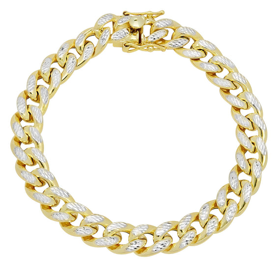 Men's Miami Cuban Link Pave Two-Tone Bracelet Real 10K Yellow Gold - Hollow - bayamjewelry