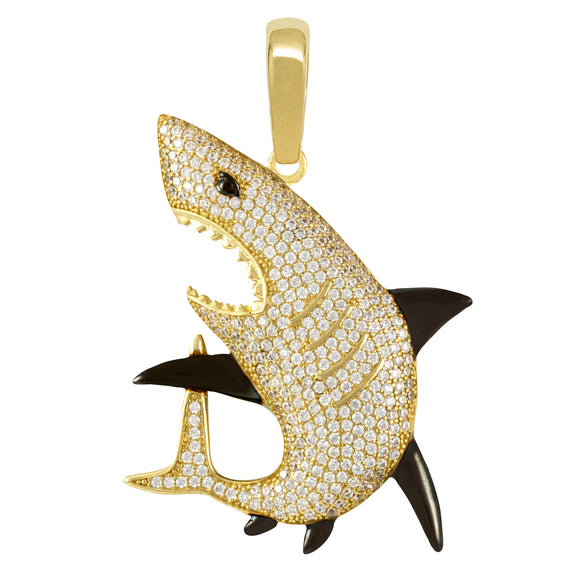 "2"" Shark CZ Pendant Real Solid 10K Yellow Gold - bayamjewelry"