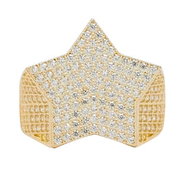 Super Star Big CZ Ring Real Solid 10K Yellow Gold - bayamjewelry