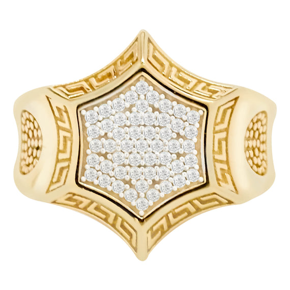 Star Greek CZ Real Solid 10K Yellow Gold - bayamjewelry